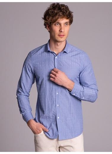 Dufy Mavı Karelı Pamuk Karışımlı Erkek Gömlek - Slım Fıt Lacivert
